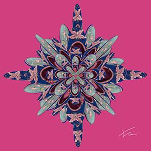 Mother´s love 子供たちの成長を祈り一針一針刺繍をしていく中国小数民族の母親たち。彼女たちの愛情に満ちた衣装に共感した作者が作り出した新たな色彩とデザインの世界を紹介。    その他、スペインの子供が大好きなグミ。カラフルな色のグミを平面に並べることで作られたGominola Candyシリーズ。望郷の念から生まれたJapanese Roomシリーズも展示予定です。