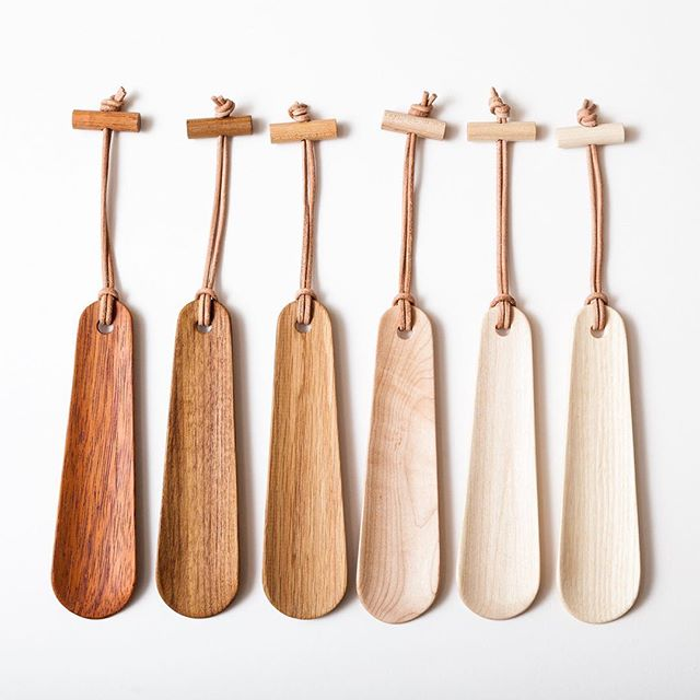 Shoehorns now available in the shop. link in bio. Wood species from left to right: Teak, Mahogany, Oak, Maple, Birch, Ash  #wood #wooden #shoehorn #madebykneip #woodcraft