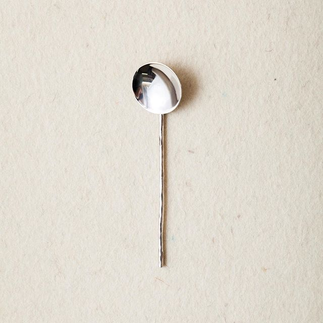 New in store is a silver spoon. Made of 925 Silver and visible hammer marks on the handle.  #silverspoon #silver #spoon #madeinoslo #handmade