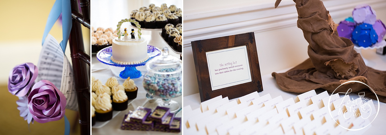 Paper cones of flowers, lego cake toppers, and a sorting hat were just a few of the many nerd-tastic touches throughout the day!