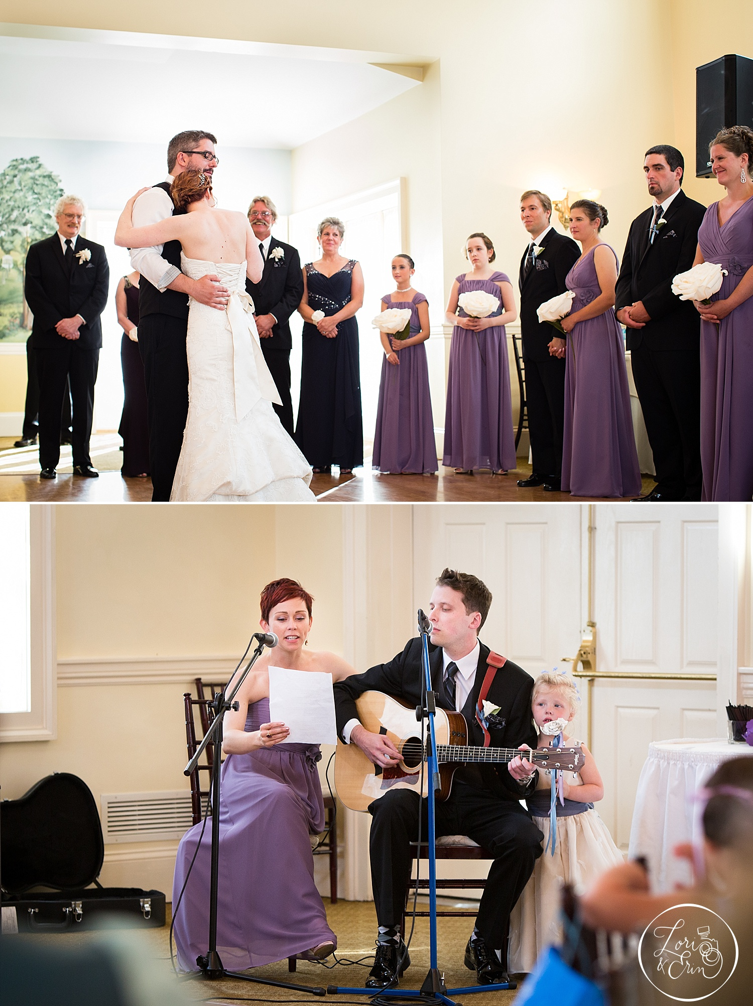 Their first dance song was performed by Man of Honor, Andy and beautiful Bridesmaid Elizabeth -with a little moral support from Miss Lucy.