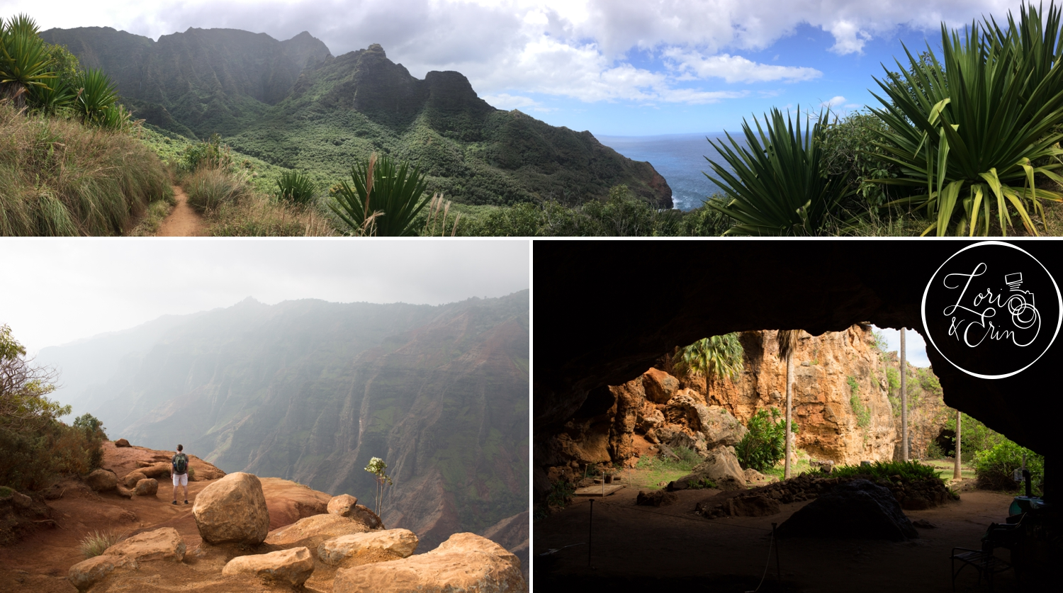 Top: View from the Kalalau Trail, Bottom left: Waimea Canyon and Bottom right: Wakauwahi Cave