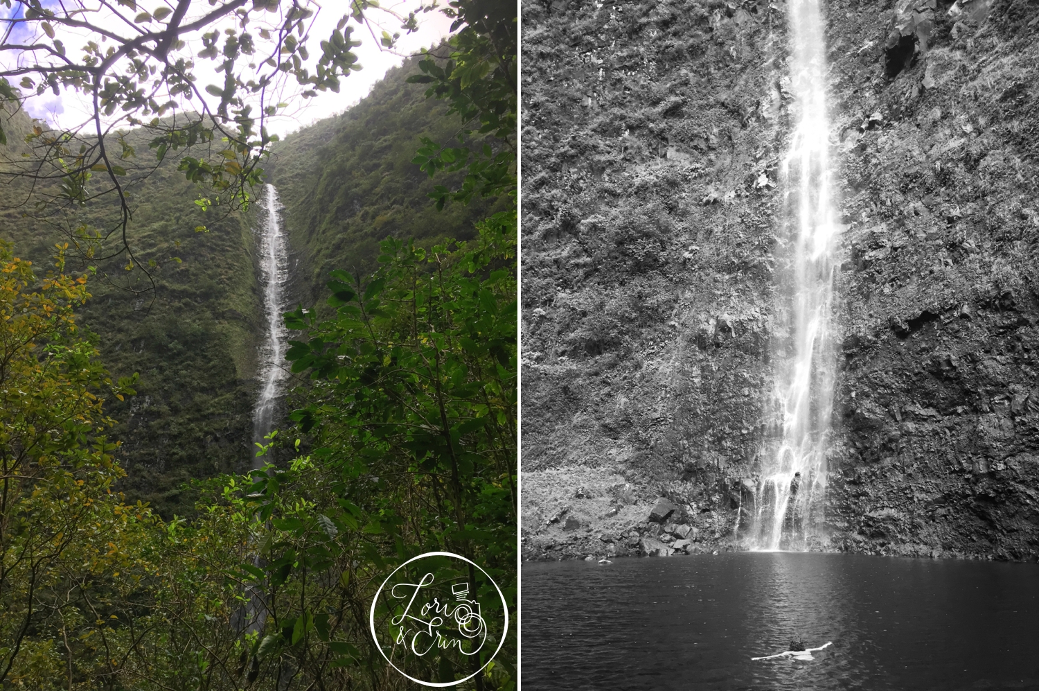 Hanakoa Waterfall, one of the more remote falls on the island.