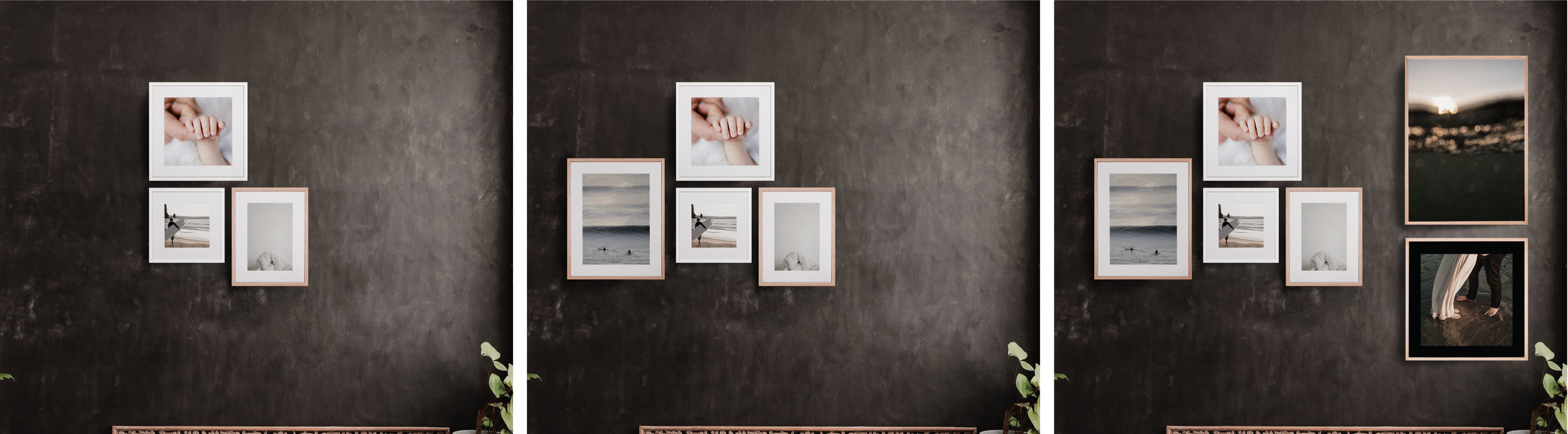 Start imagine and let it grow over time. Simply mix and match to create your most personal photo wall: Choose between full bleed or white/black passepartout. From a tiny delicacy in 30x30cm to the majestic 50x70cm and everything in between.