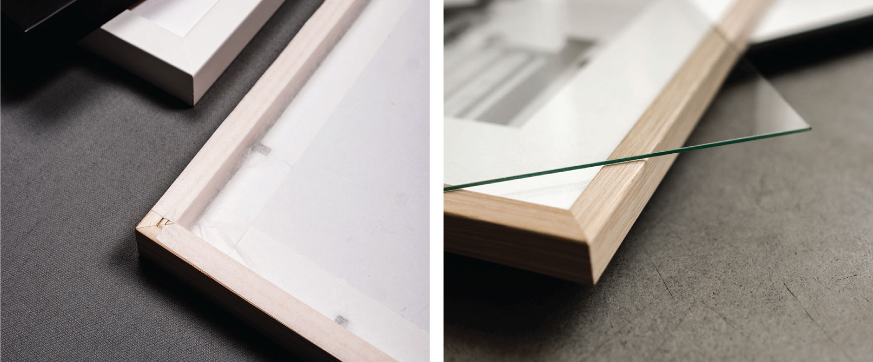 Acid free taped backsides and real glass. Just like in the museums. Why? Because we want your prints to last a lifetime.