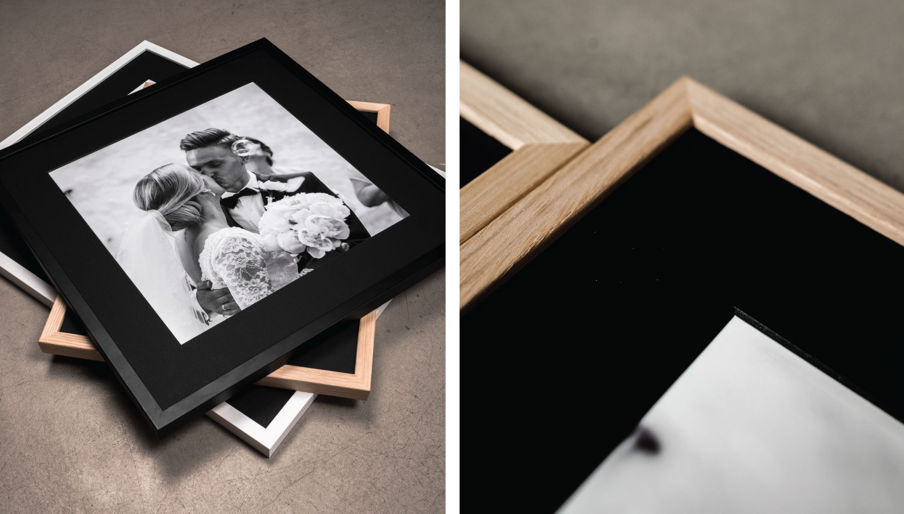 Frame your precious life stories and moments in black passepartout. It's bold and it's solid.