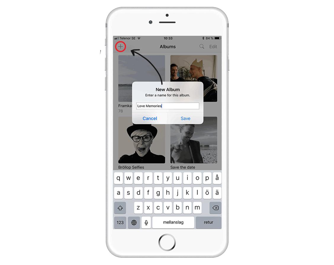 """Strukturera med album - Ett tips är att göra tre olika album i din kamerarulle på telefonen som heter """"Selfies"""", """"Möhippa/Svensexa"""" & """"Kärleksbilder"""" exempelvis. På så vis är det lätt att hitta rätt bilder snabbt när du är inne i appen och beställer. Det underlättar också om du vill beställa olika format, exempelvis retroprints för selfies och vanliga klassiska framkallningar i olika storlekar för de andra kategorierna."""