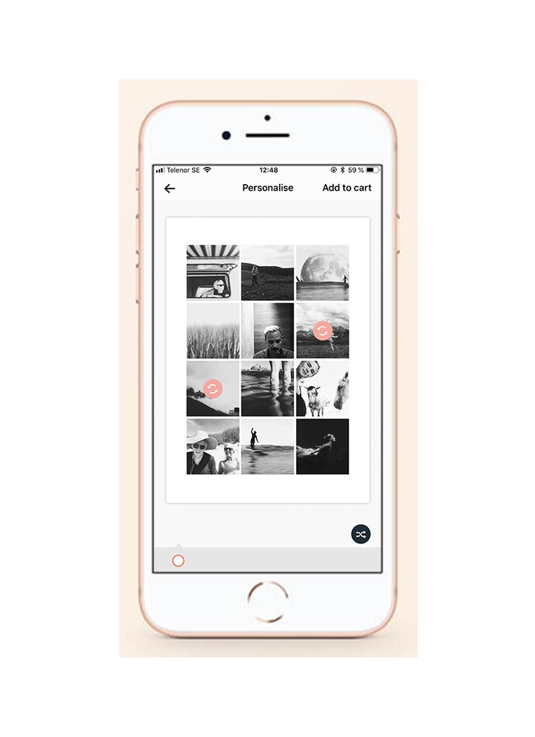 - Du kan enkelt flytta runt dina bilder på postern för att hitta rätt komposition. Markera de två bilder du vill byta plats på så flyttar de sig automatiskt. Fortsätt flippa tills du hittar rätt komposition.
