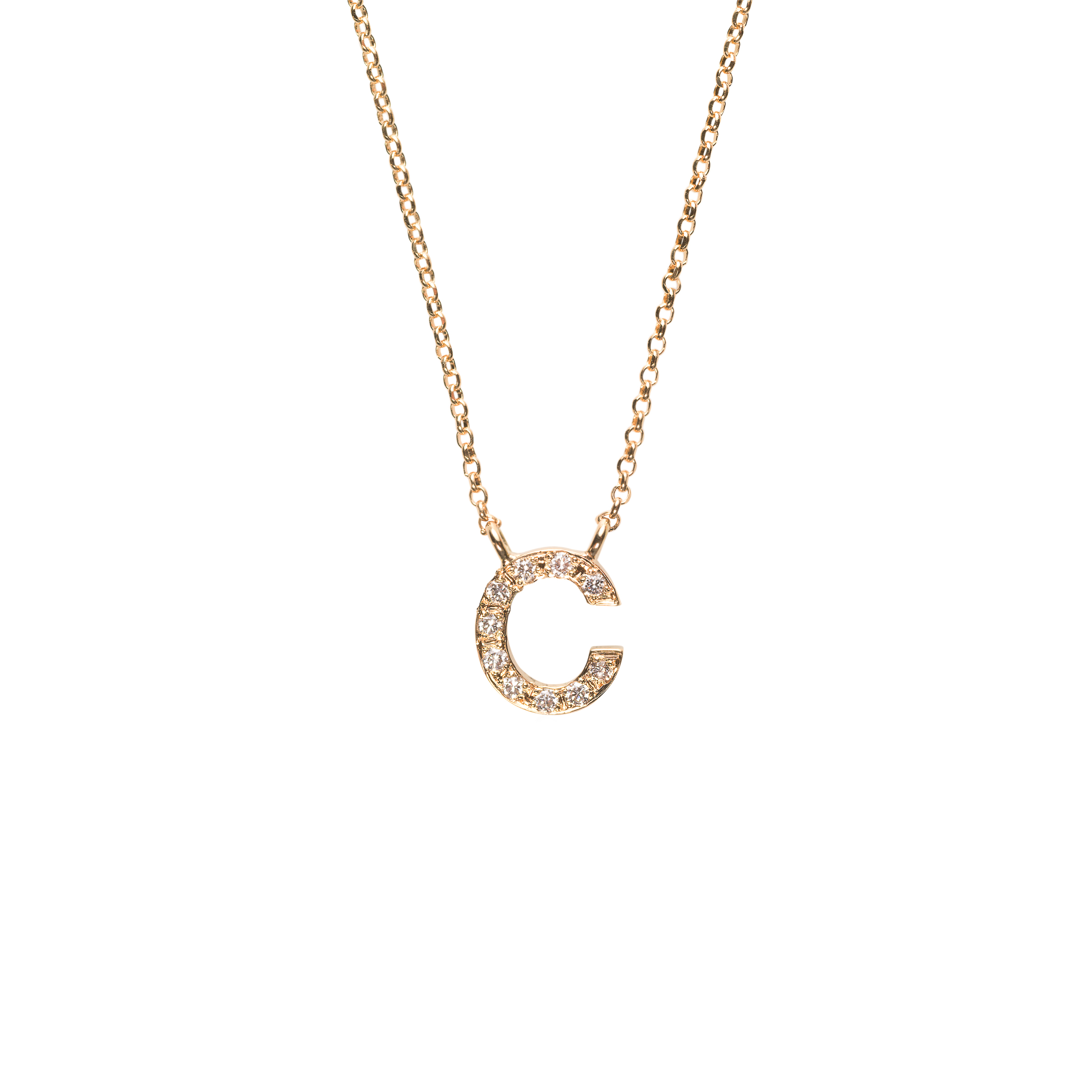 DIAMOND LETTER NECKLACE 16.000 NOK   18 kt yellow gold with diamonds