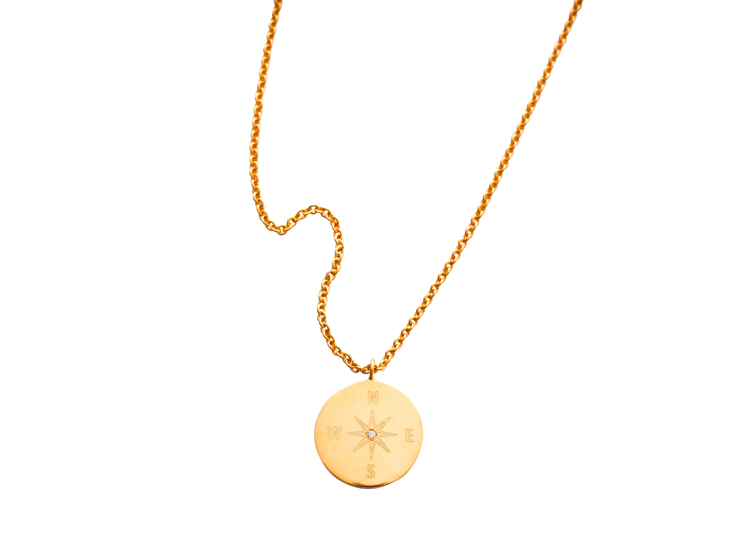 COMPASS NECKLACE 12.300 NOK   18 kt gold and one diamond