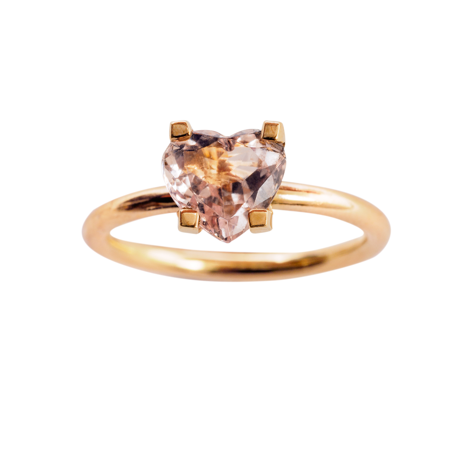PINKY FINGER LOVE RING 12.000 NOK. 18 kt gold with heart shaped morganite