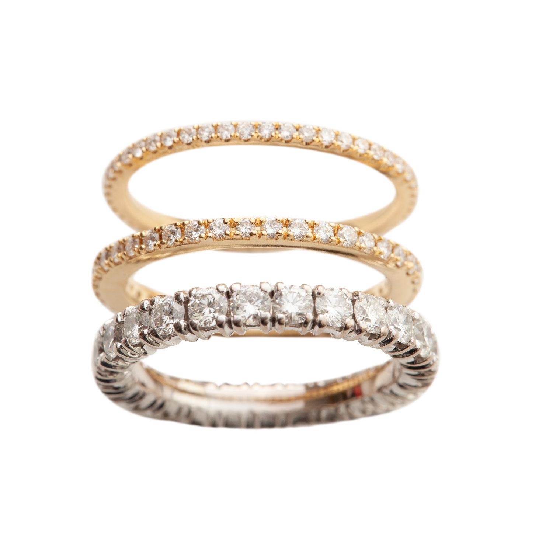 PETIT OLIVIA WEDDING RINGS - 17.500 NOK / 22.000 NOK / 40.000 NOK. 18 ct gold with white diamonds.
