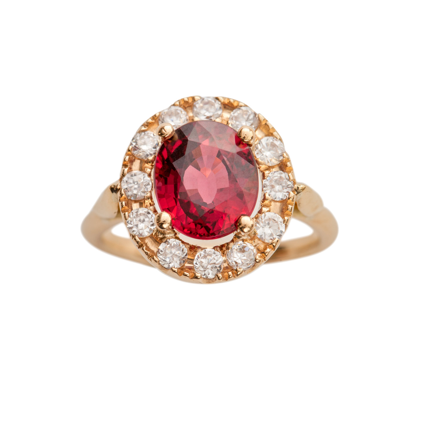 RED IS THE COLOR OF LOVE RING - 90.000 NOK. 18 ct yellow gold. 1 ct red ruby. 0,40 ct diamonds.