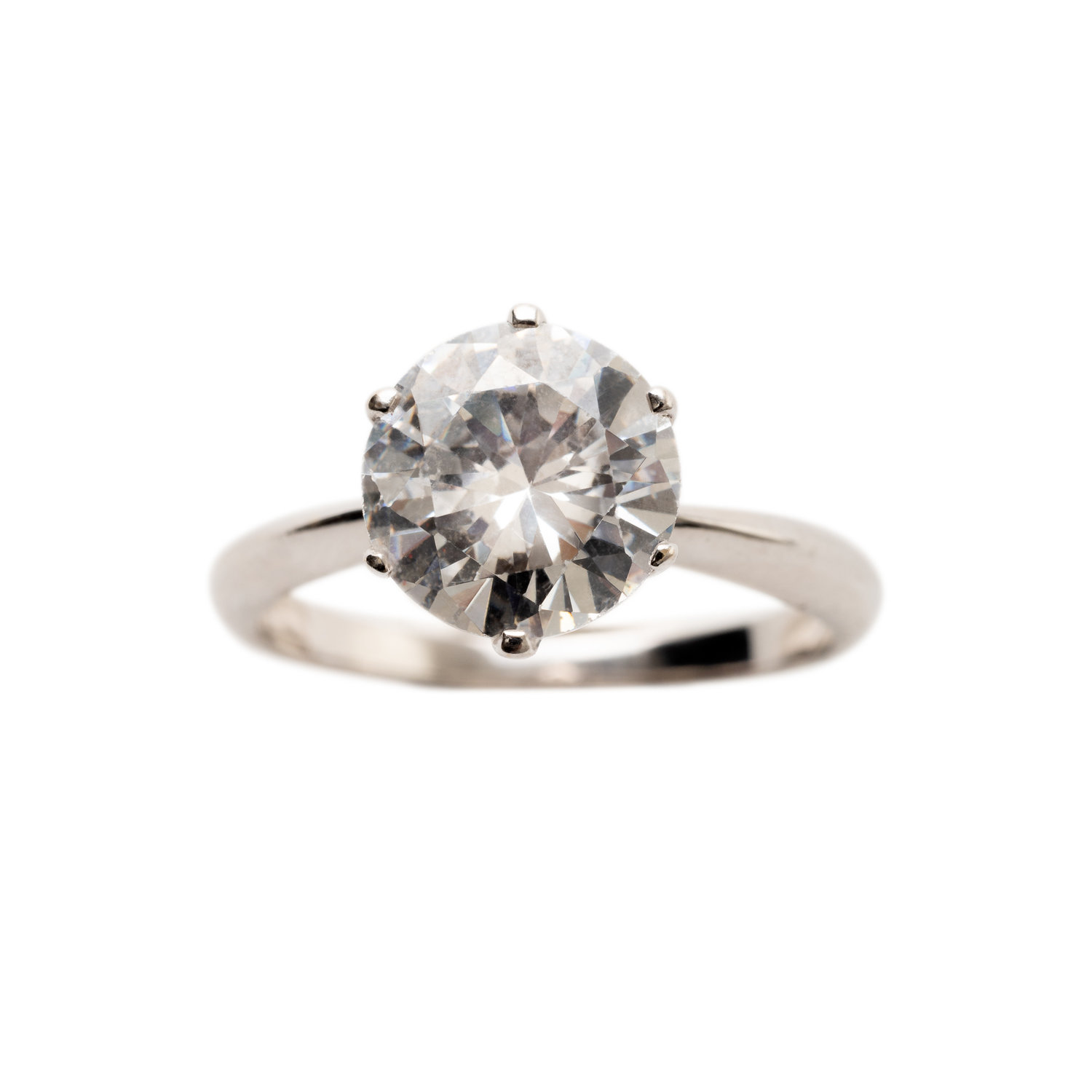 SOLITAIRE DIAMOND RING - Price upon request. 18 ct white gold with 2 ct solitaire cut River diamond.