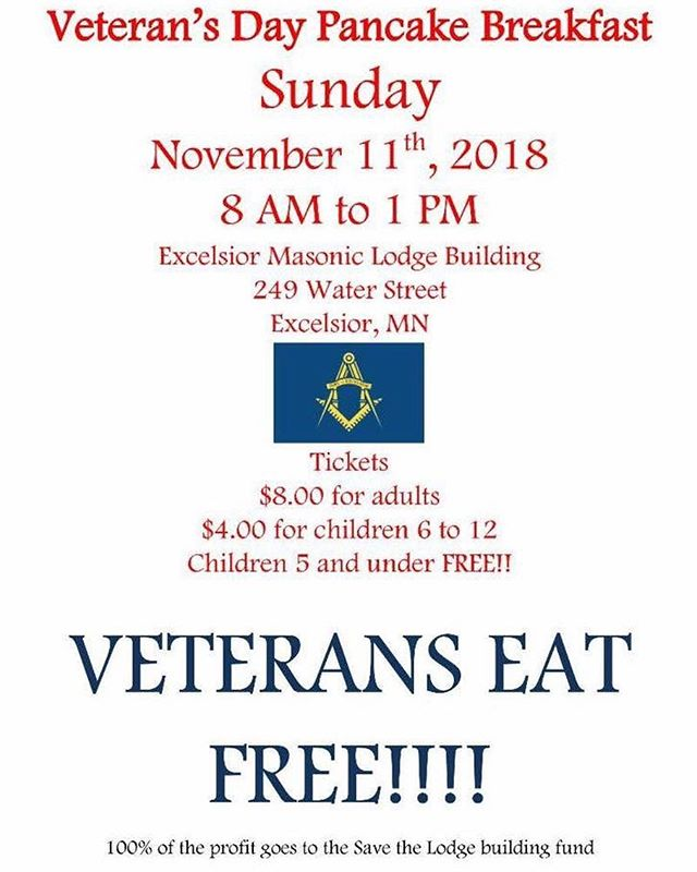 Join us this morning for our Veterans Day pancake breakfast! . . #Excelsior #minnetonka #masons #freemasons #pancakes #breakfast #veteransday #fall #winter #food @excelsior_brewing @exclakemtka @explorelakeminnetonka @excelsiorrotary @excelsiorfarmersmarket @oohlala_excelsior @excelr8ebikes @waterstreetexcelsior @dbexcelsior @excelsior_christkindlsmarkt