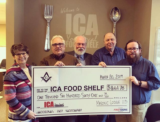 Happy to present this check to our local @icafoodshelf ! . . .##charity #foodshelf #icafoodshelf #mason #masonry #brothers #afam #food #donation #help #assistance #usa #excelsior #minnesota #minnetonka #freemason #113 #lodge #brothers