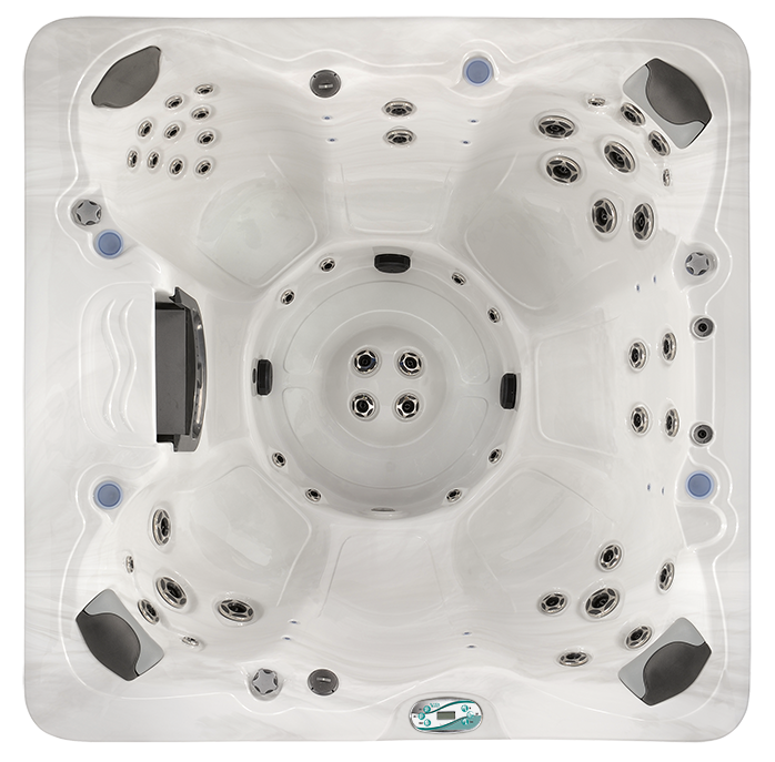 Seating:   6-7 Occupants    Size (LxWxH):  84″ x 84″ x 38″    213 x 213 x 96.5 cm    Weight Dry/Wet:  870 / 3308 lbs.    394 / 1500 kg    Gals/Liters:  292 / 1105    Pumps:  Pump 1    3.0Hp/5.9bHp, 240V, 2Sp    Pump 2    3.0Hp/5.9bHp, 240V, 1Sp    Voltage/Amps:  240V/40A/60A    Total:   49 Jets      Included Features  AquaGlo™  Aurora Cascade Water Features2  Excel-X™ (Simulated Wood)  Freeze Protection  Perma-Shield™ Bottom Pan  Premier Styled Cover  Stainless Steel Jets  Steel Frame  Vital Energy Insulation System  Optional Features  Champagne Air (10 air jets)  Circ Pump (220V only)  CleanZone™  CleanZone™ II UV Sanitization  Vita Tunes  WiFi Connectivity