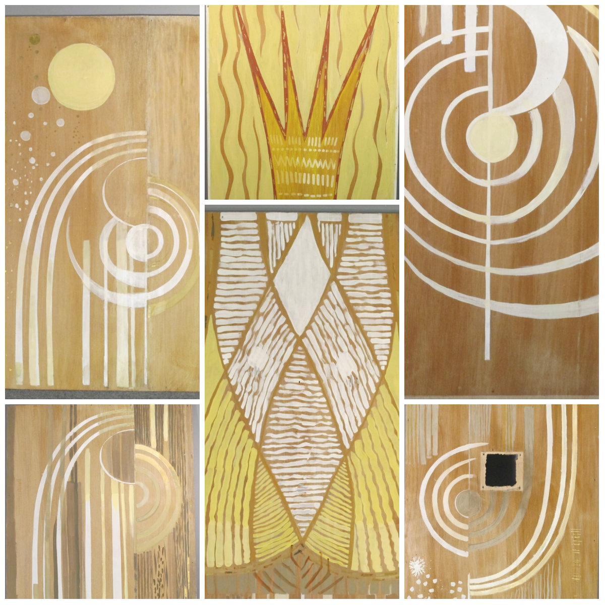 The six panels from Temple Emanuel, post-treatment