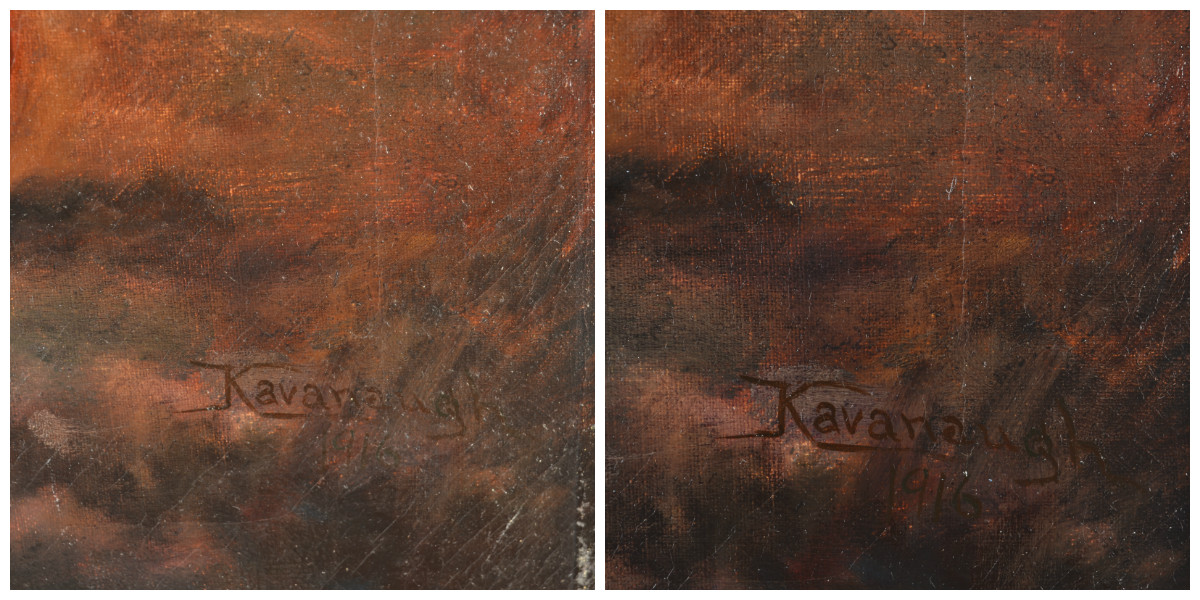Sister Kavanaugh's signature: before (left) and after (right)