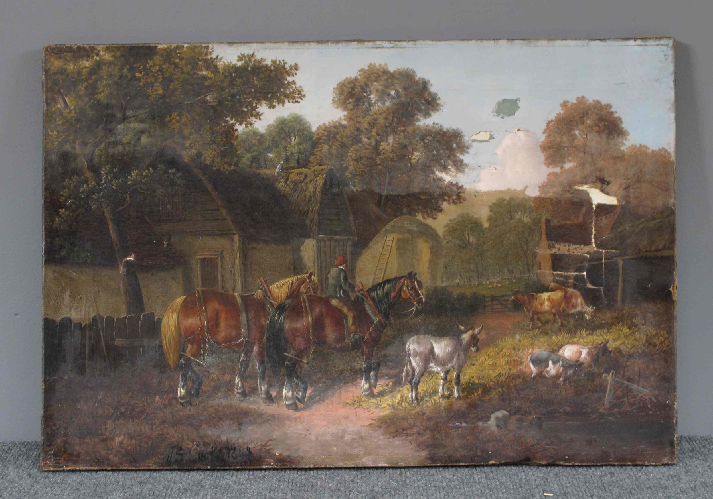 Farm Scene With Horses and Donkey , unsigned