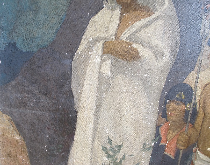 """Detail of """"Navaho"""" during treatment."""