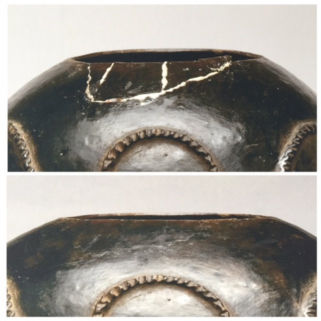 "A ""do-it-yourself treatment"" using Gorilla Glue on an antique ceramic (top); and post-treatment (bottom)"