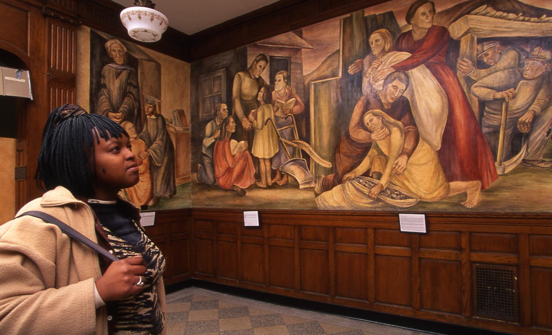 Outstanding American Women , Edward Millman, 1938-1940, fresco, Lucy Flower Career Academy High School.