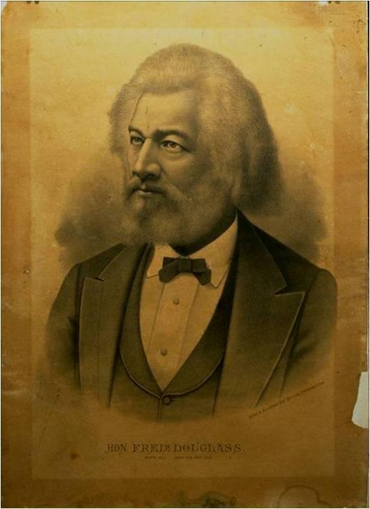 Portrait of Frederick Douglas  exhibiting light strike and darkening.