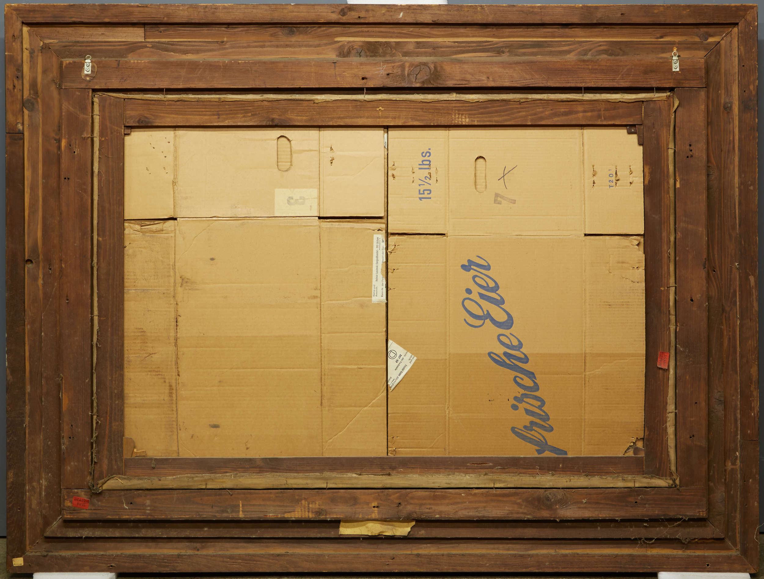 Cardboard is not recommended as a backing material. We suggest replacing cardboard immediately with archival materials.
