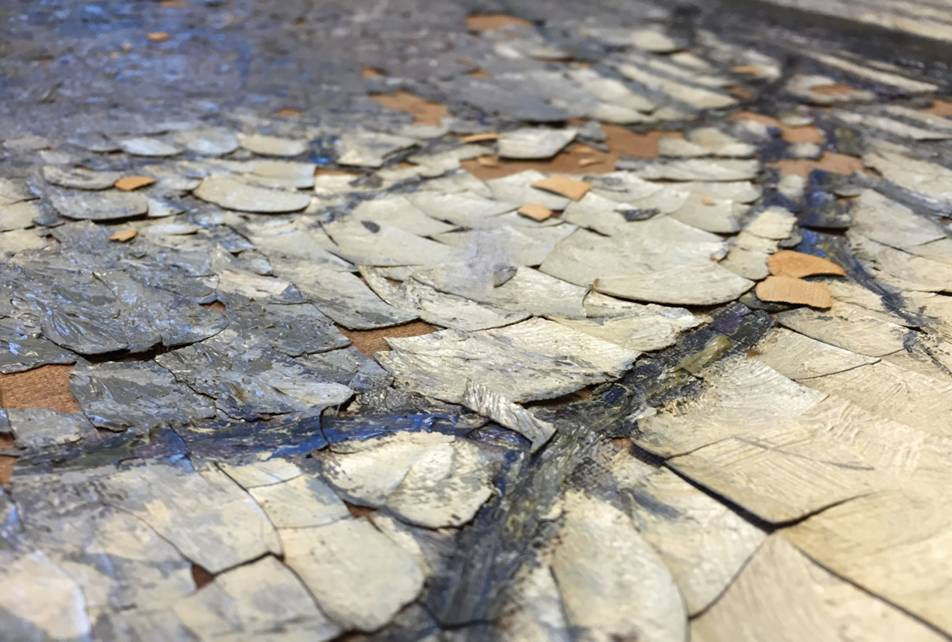 Painting with flaking paint due to climate fluctuations.