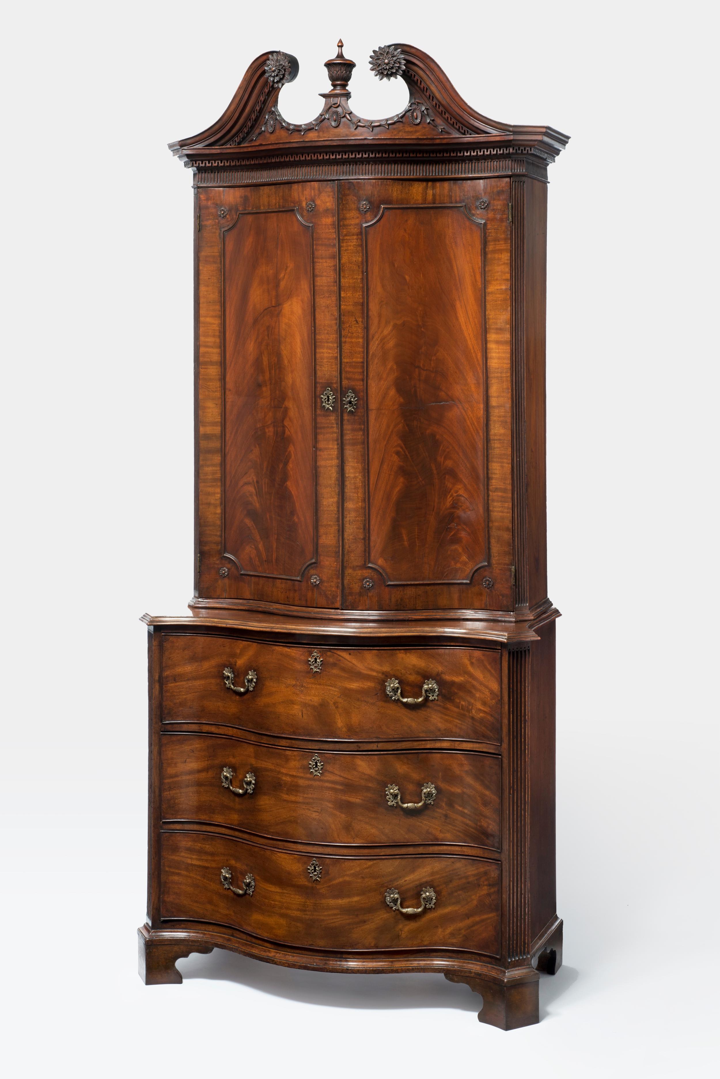 After waxing: Clothes Press c. 1760, mahogany