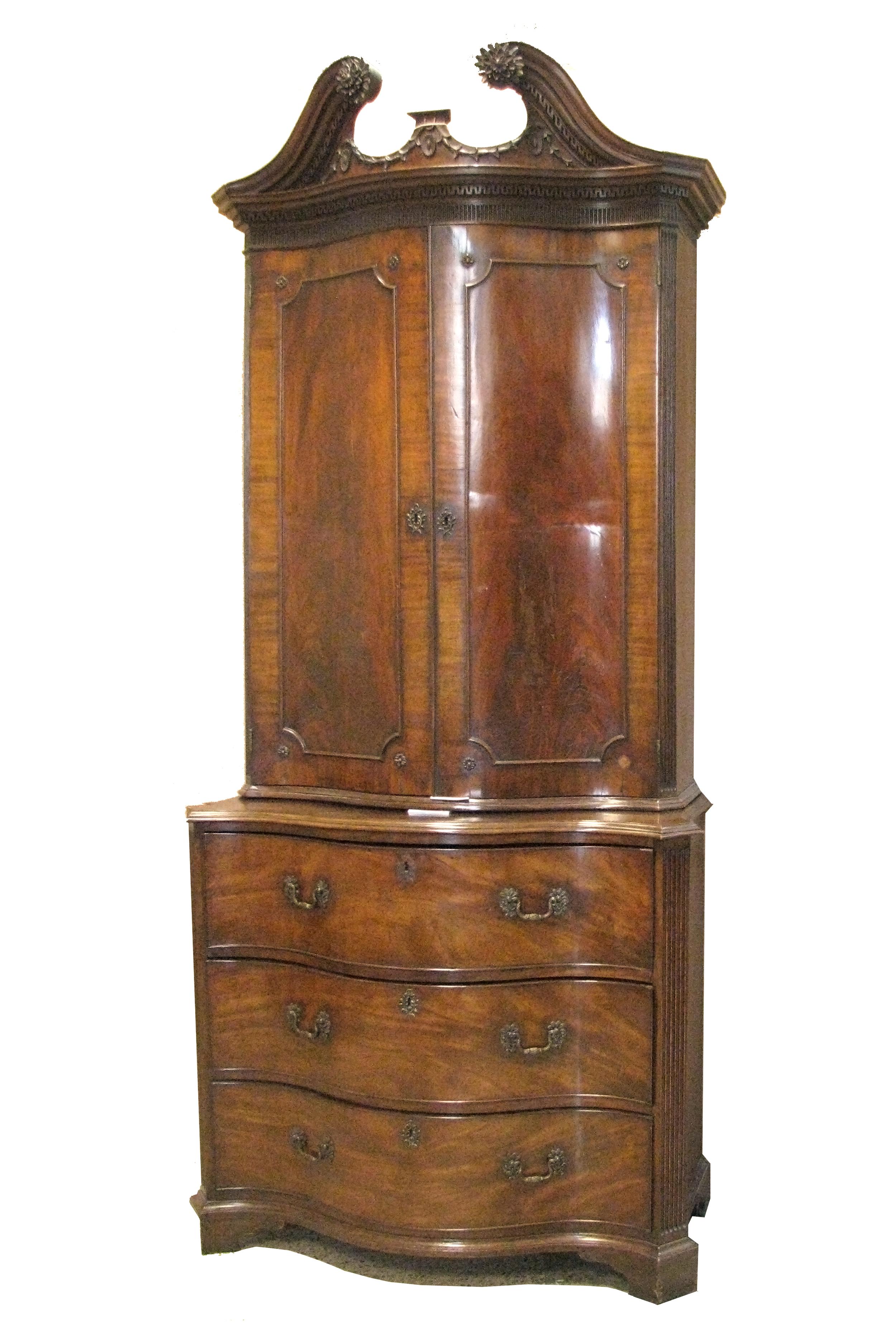 Before waxing: Clothes Press c. 1760, mahogany