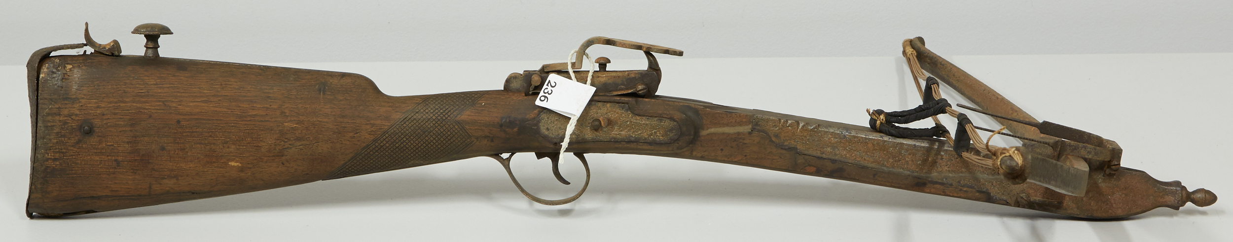 Before waxing: antique crossbow