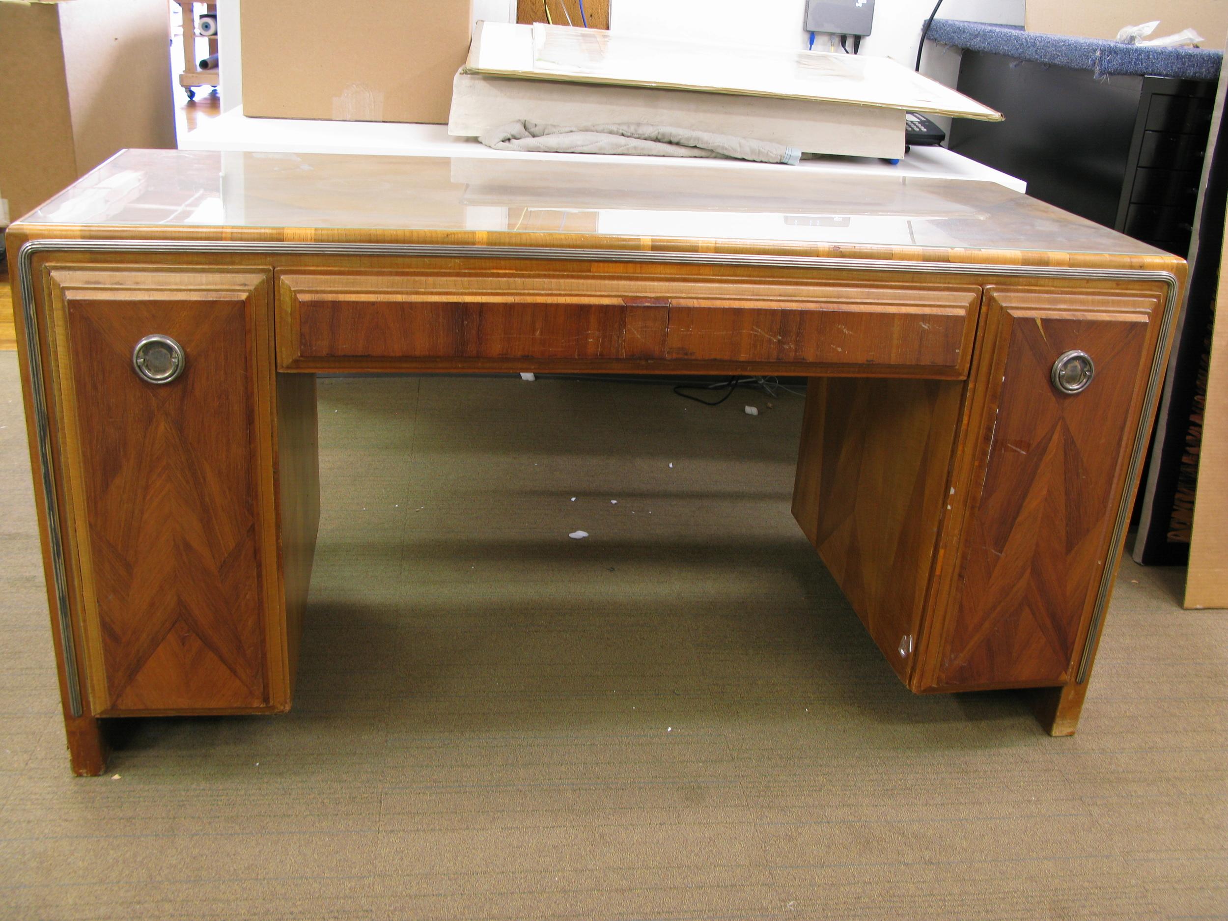 Before waxing: Art Deco desk