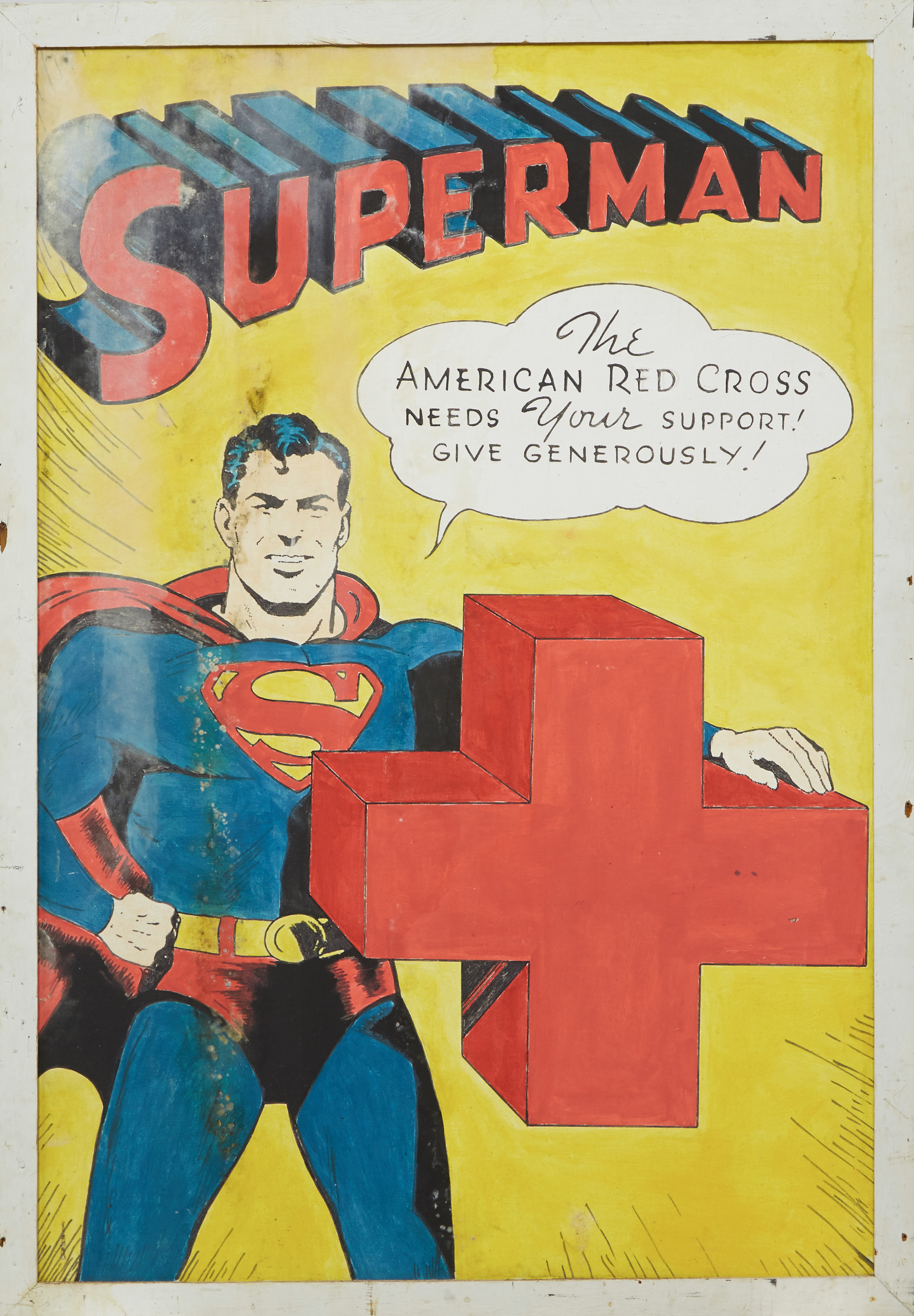 Found in a basement, the owner knows little about the origins of this unsigned painting of Superman featuring The American Red Cross logo.