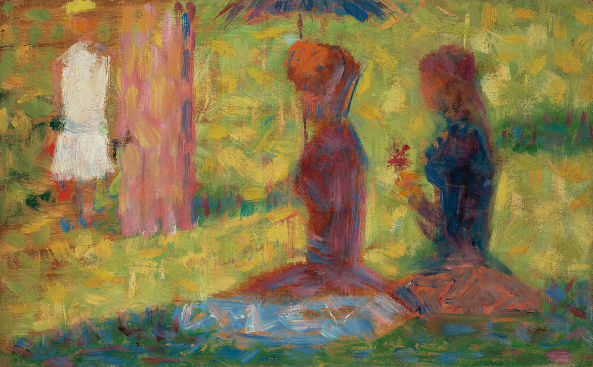 """Study of Figures for """"La Grande Jatte"""", Georges Seurat (National Gallery of Art)  Caption: This study of Seurat's famous pointillism masterpiece likely features Emerald Green; the artist is noted with using the pigment in his """"A Sunday Afternoon on the Island of La Grande Jatte"""""""