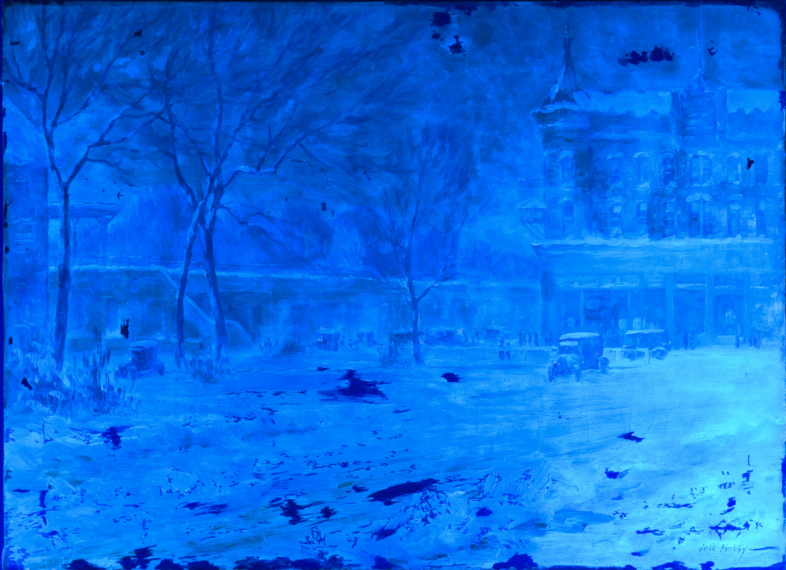 Invisible to the naked eye, examination of the painting under blacklight will reveal the work preformed by conservator Amber Smith.