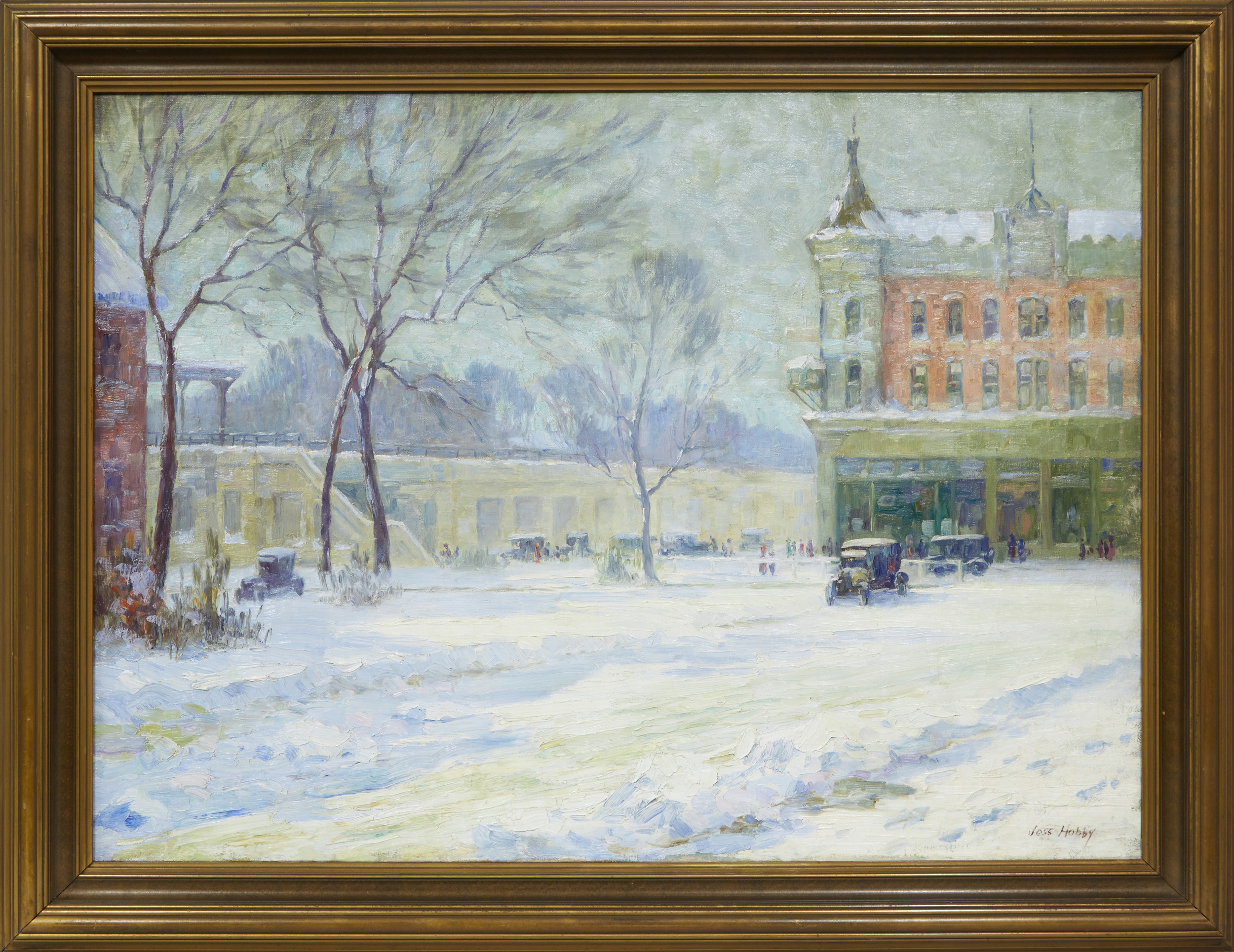 Reinstalled in the original frame, the snow scene of Oak Park looks as fresh as the day it was painted.