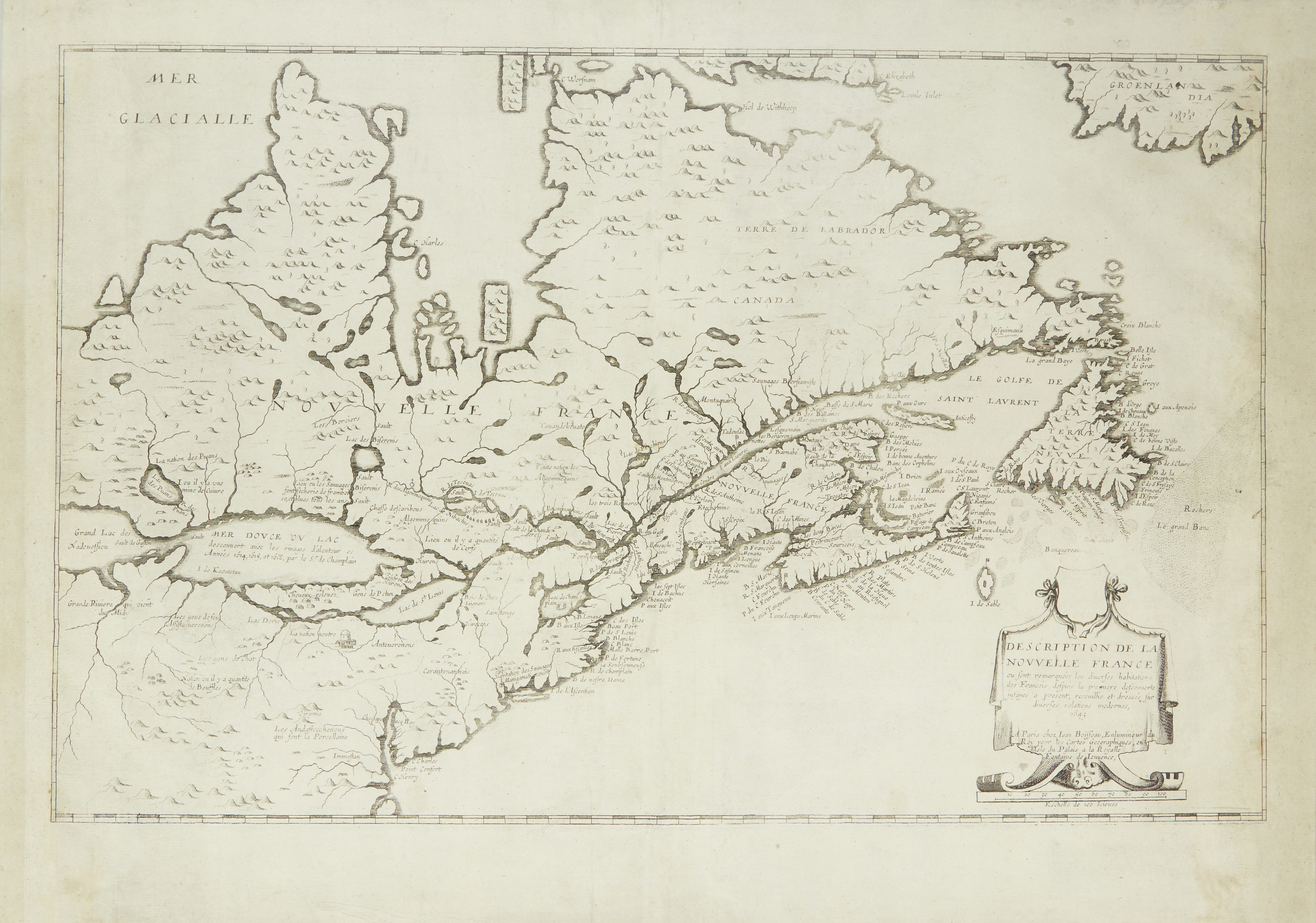 Shown before framing, this 1643 map of the Great Lakes by Jean Boisseau identifies the lakes in French: Lac St. Louis (Ontario), Lac Derie (Erie), Mer Douce ou Lac (Huron), Grand Lac (Superior), and Lac des Puans (Michigan).