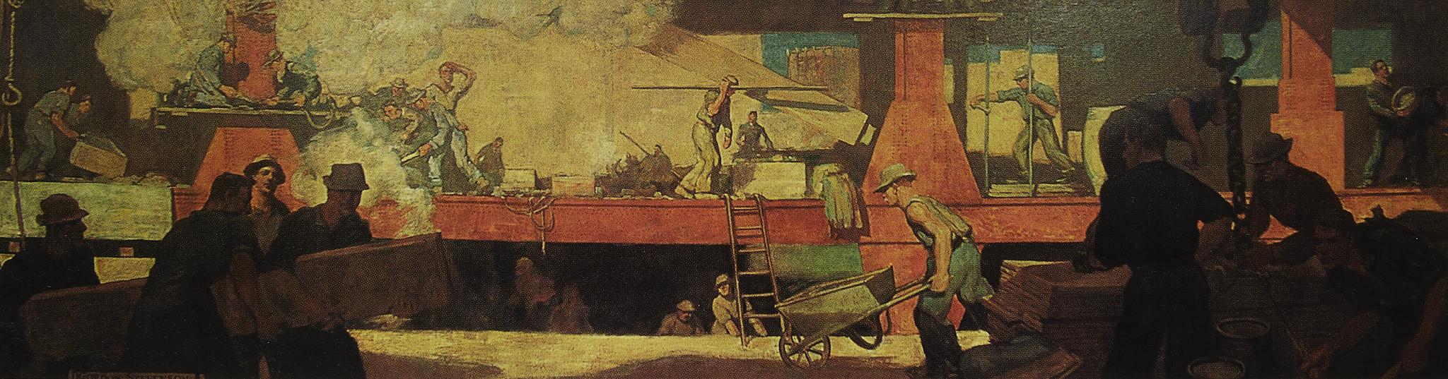 "Gordon Stevenson, Construction Site , 1909. Oil on canvas, 2 1/2""' x 15'."