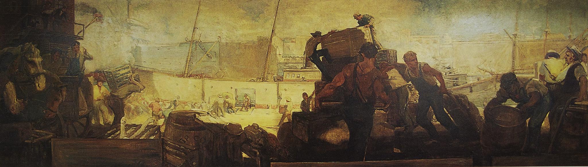 William E. Scott  Dock Scene,  1909. Oil on canvas, 5' x 18'.