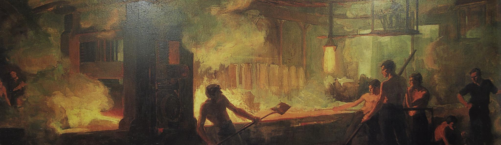 Margaret A. Hittle,  Steel Mill, 1909, Oil on canvas, 5' x 18'.