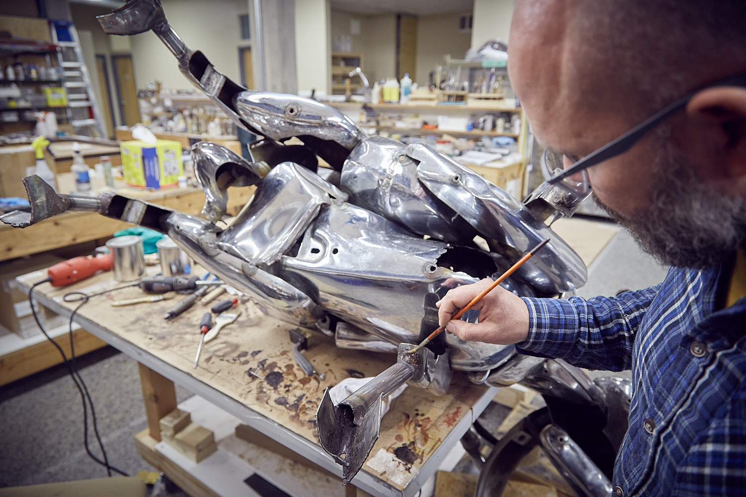 Ram  sculpture being treated by Conservator, Andrew Rigsby at The Center's laboratory.