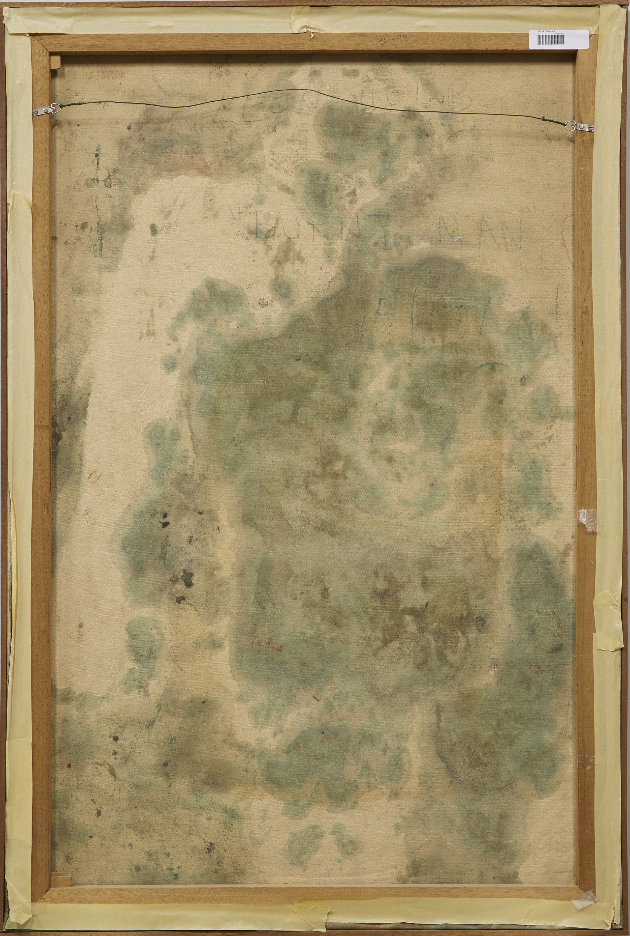 Verso of  Burnt Man  by Leon Golub, showing the unprimed canvas' absorption of the paint.