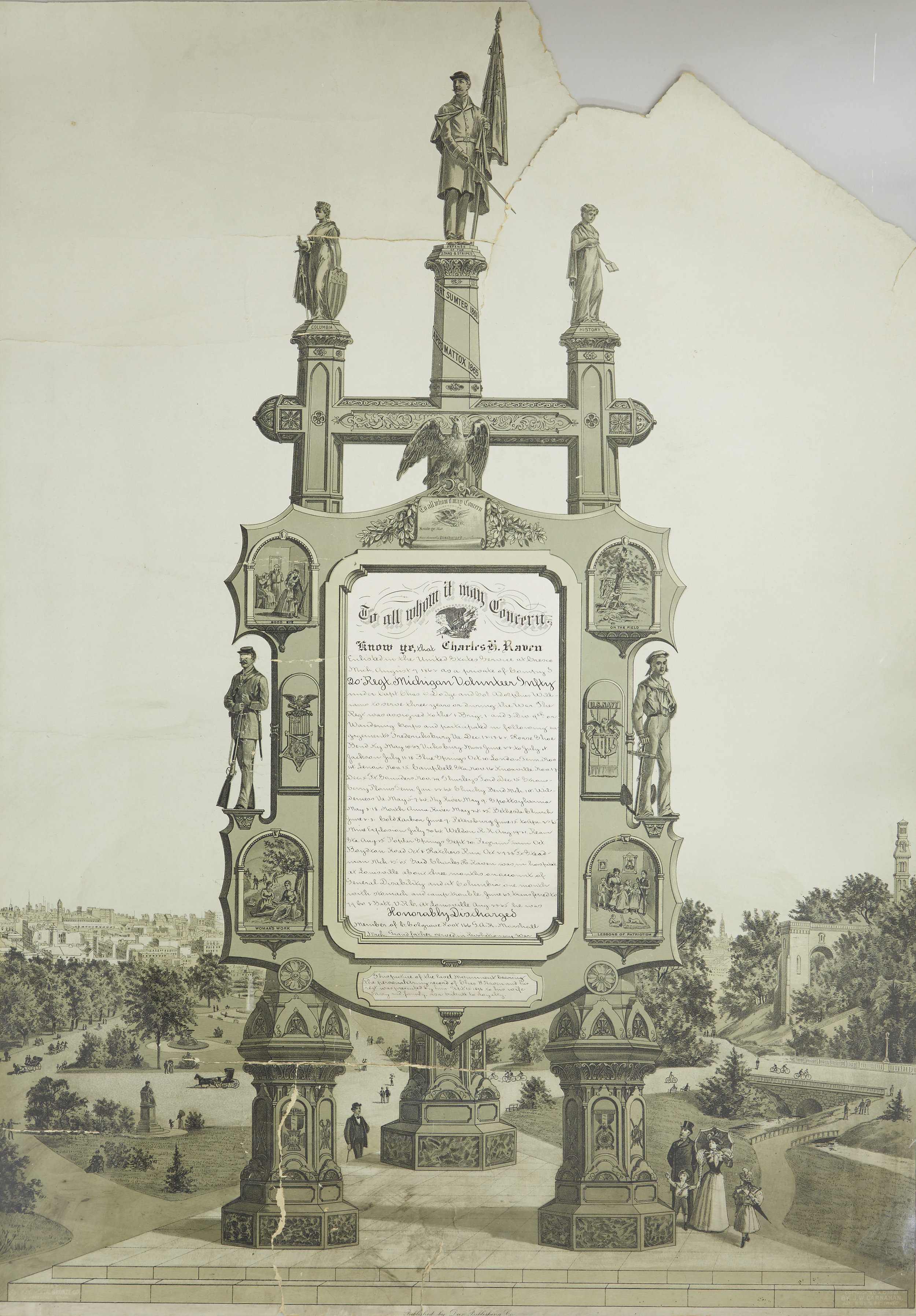 The Easel Monument before treatment -recto.