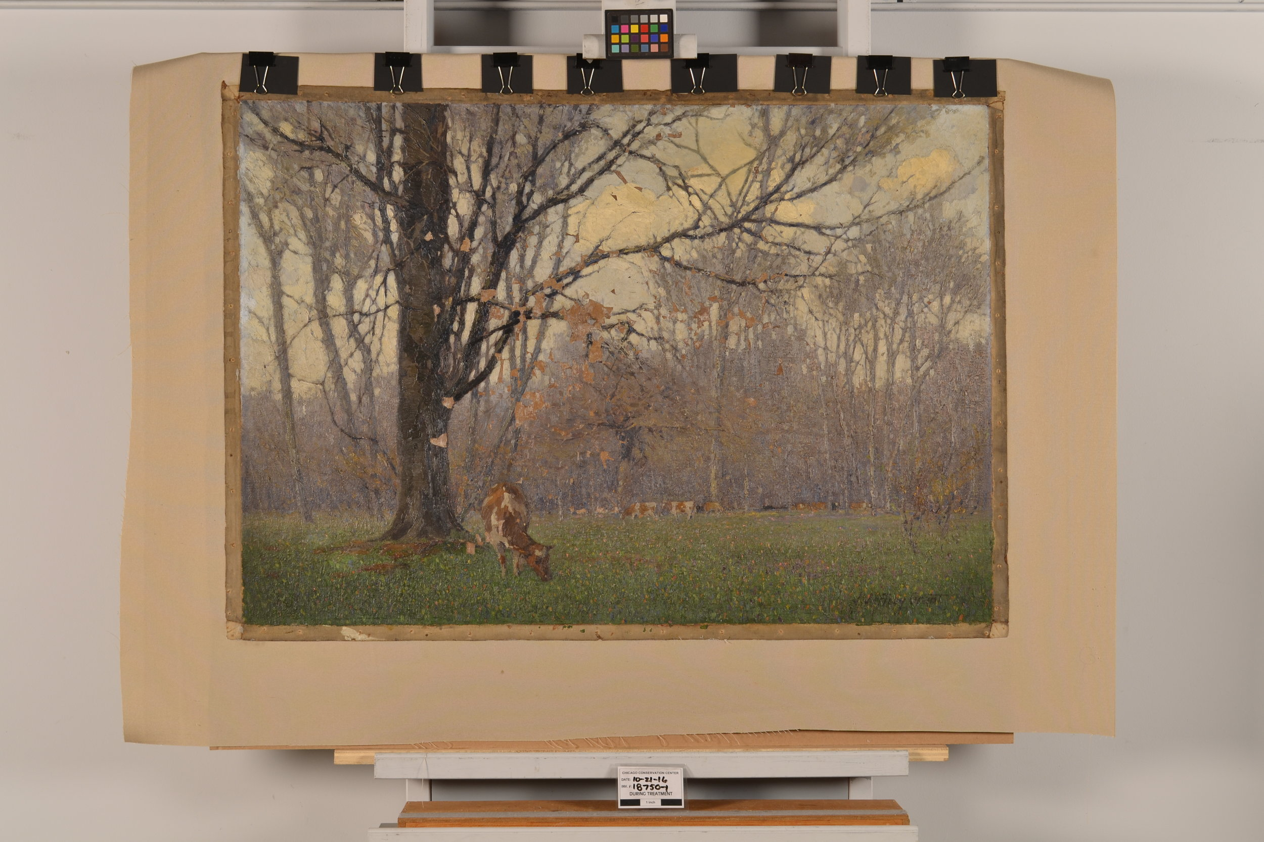 The original canvas was lined to a synthetic canvas with reversible conservation adhesives.