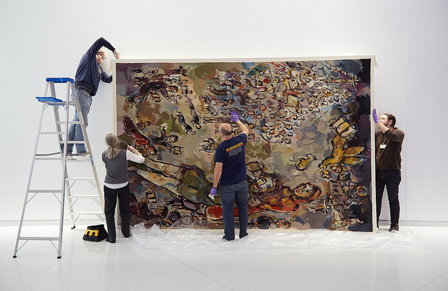 This Chagall tapestry was a collaborative project between our Custom Framing Department and our Textile conservator. The piece was so large that the materials had to be craned into the building and the frame was constructed on-site. Watch the installation video  here .