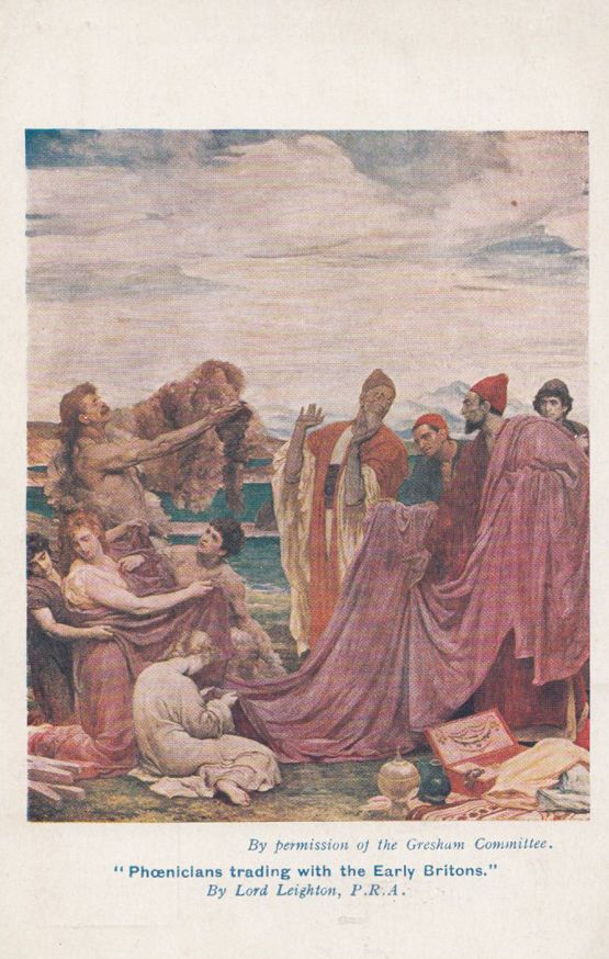 """""""Phoenicians Trading With Early Britons,"""" by Frederic Leighton, 1919."""