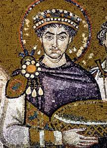 Mosaic depicting Emperor Justinian I in a purple robe, San Vitale, 547 AD.