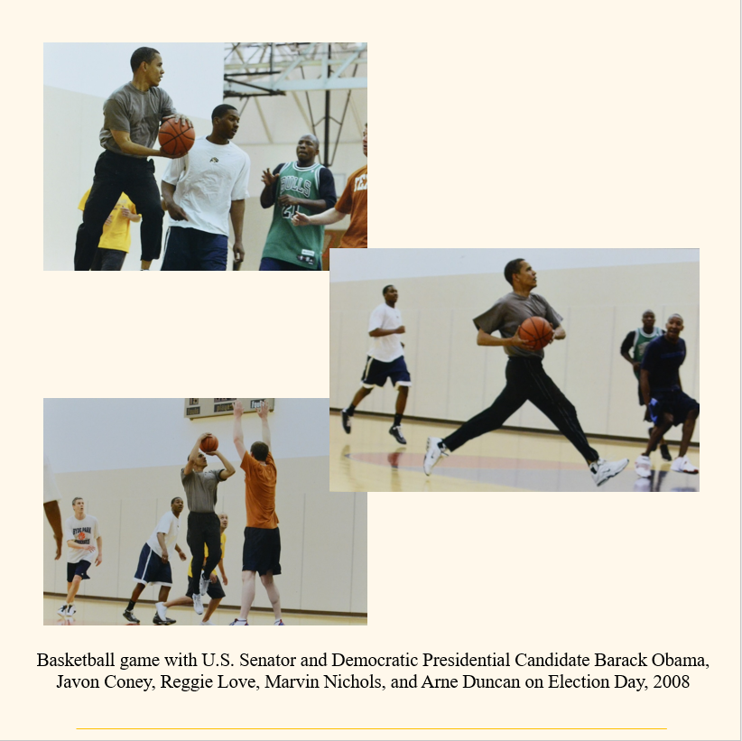 Scrapbook page with photos of the basketball game between Javon Coney and Barack Obama.